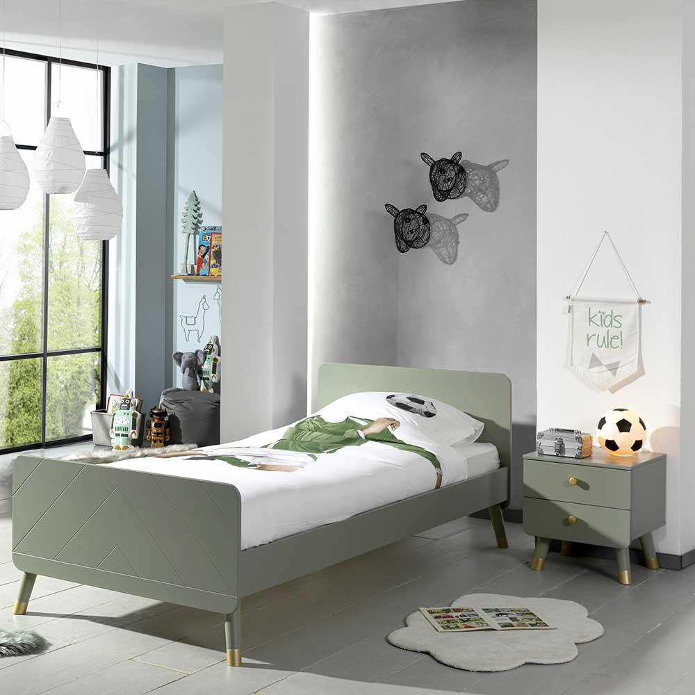 Jugendzimmerbett in Graugrün und Goldfarben Nachtkonsole (zweiteilig)
