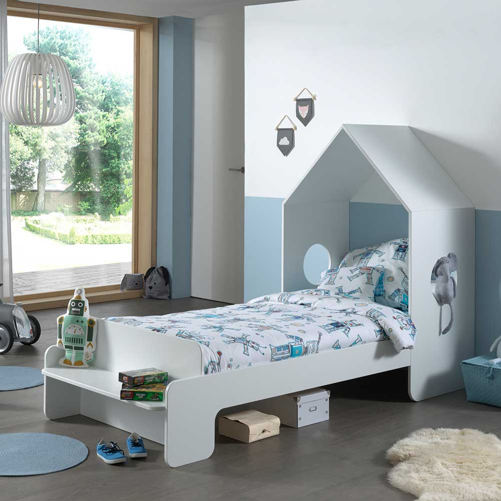 Kinder Einzelbett in Weiß Haus Optik