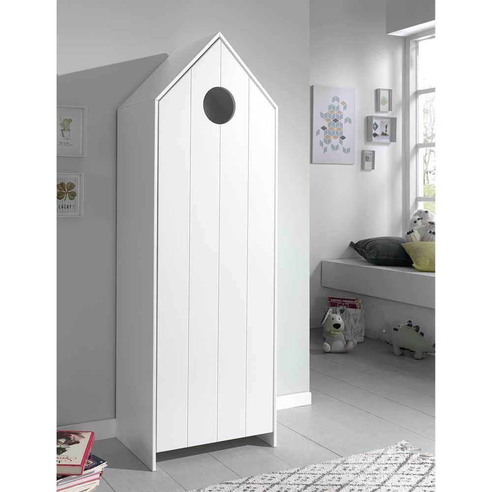 Weißer Kinder Kleiderschrank in Haus Optik einer Tür