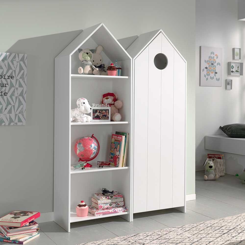 Kinderzimmer Regal mit Kleiderschrank Weiß (zweiteilig)