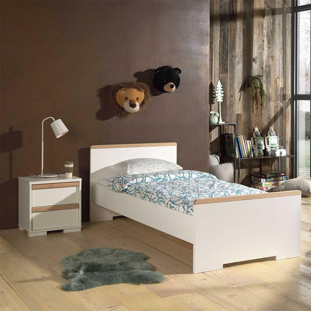 Kinder Jugendbett in Weiß und Buche Nachttisch (zweiteilig)
