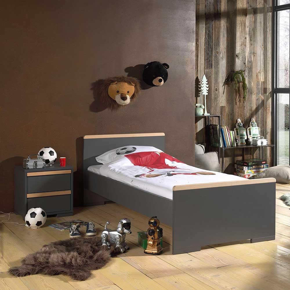 Bett mit Nachtkonsole Jugendzimmer (zweiteilig)