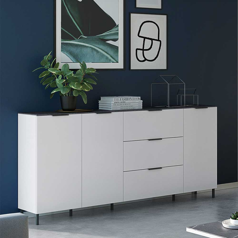 Wohnzimmer Kommode in Weiß und Grau Made in Germany