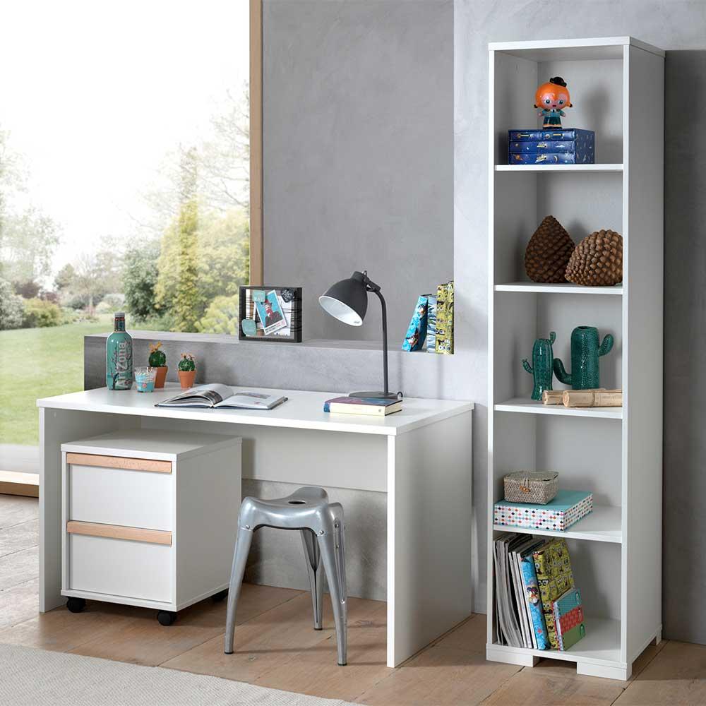 Jugendzimmer Set in Weiß und Buche Rollcontainer (dreiteilig)