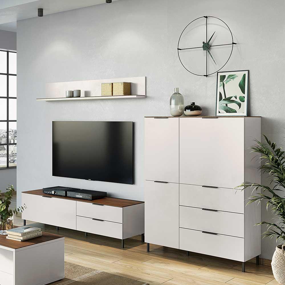 Designer Wohnwand in Hellgrau und Nussbaum Optik Made in Germany (dreiteilig)