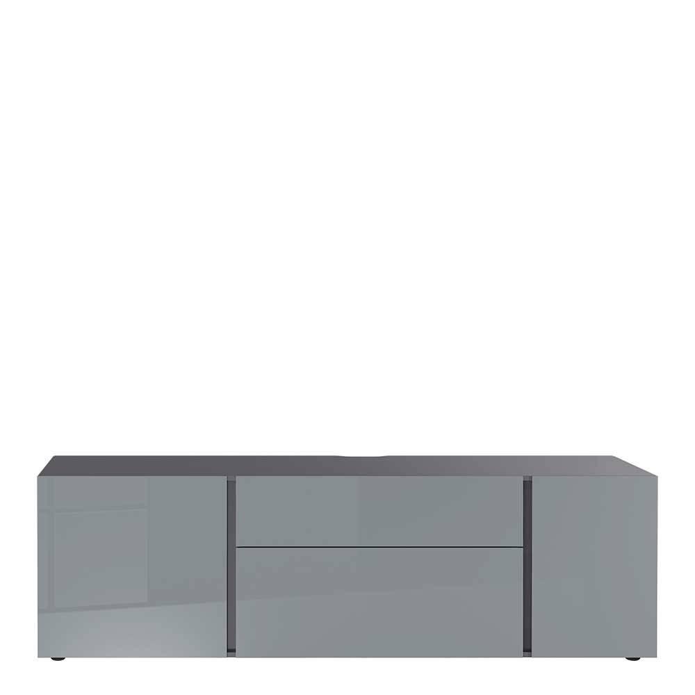 TV Sideboard in Dunkelgrau und Silberfarben 180 cm breit