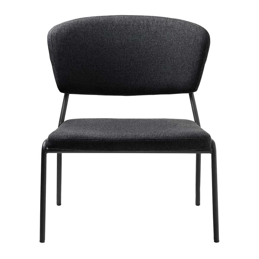 Lounge Sessel in Dunkelgrau Webstoff 40 cm Sitzhöhe