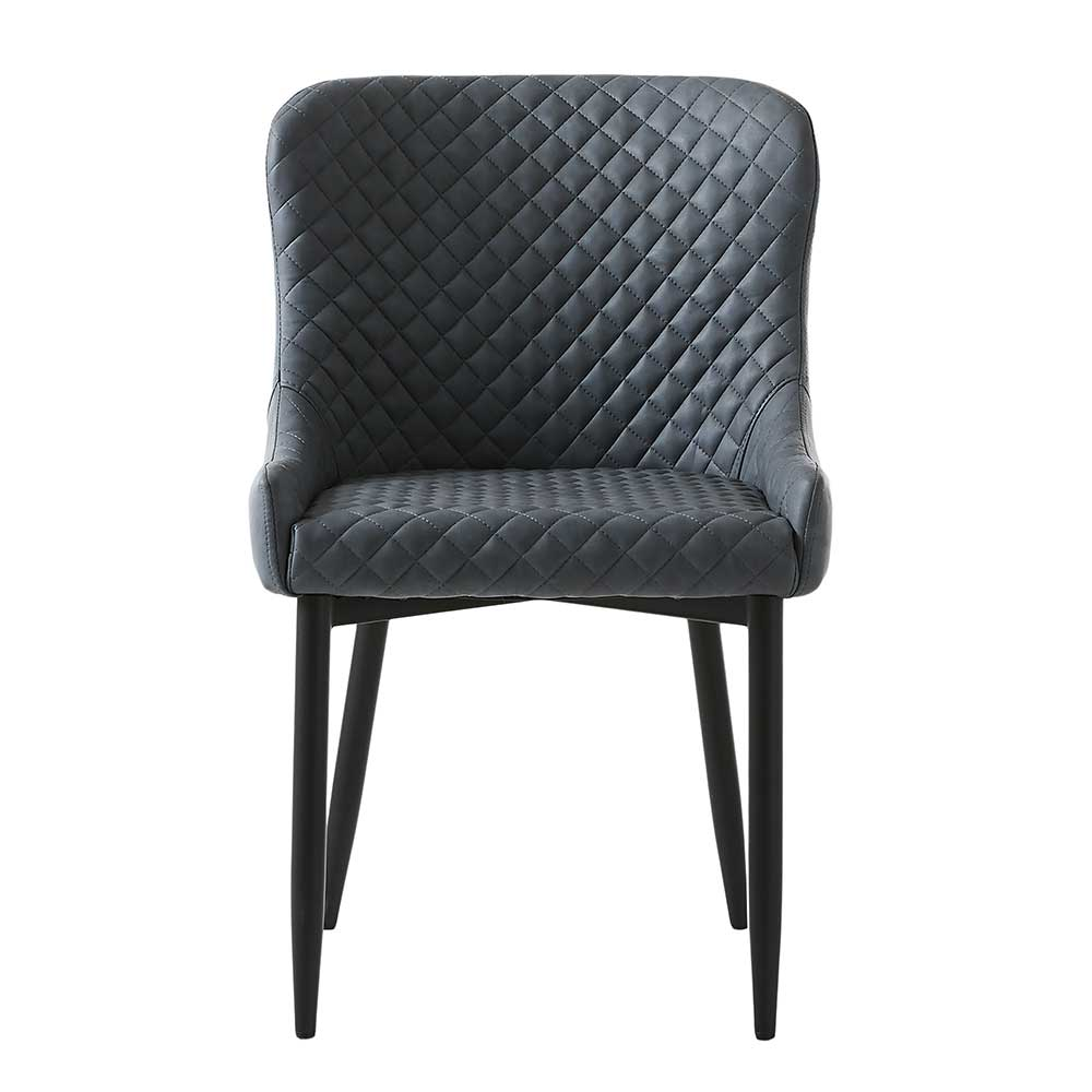Esstisch Stühle in Grau Kunstleder 45 cm Sitztiefe (2er Set)