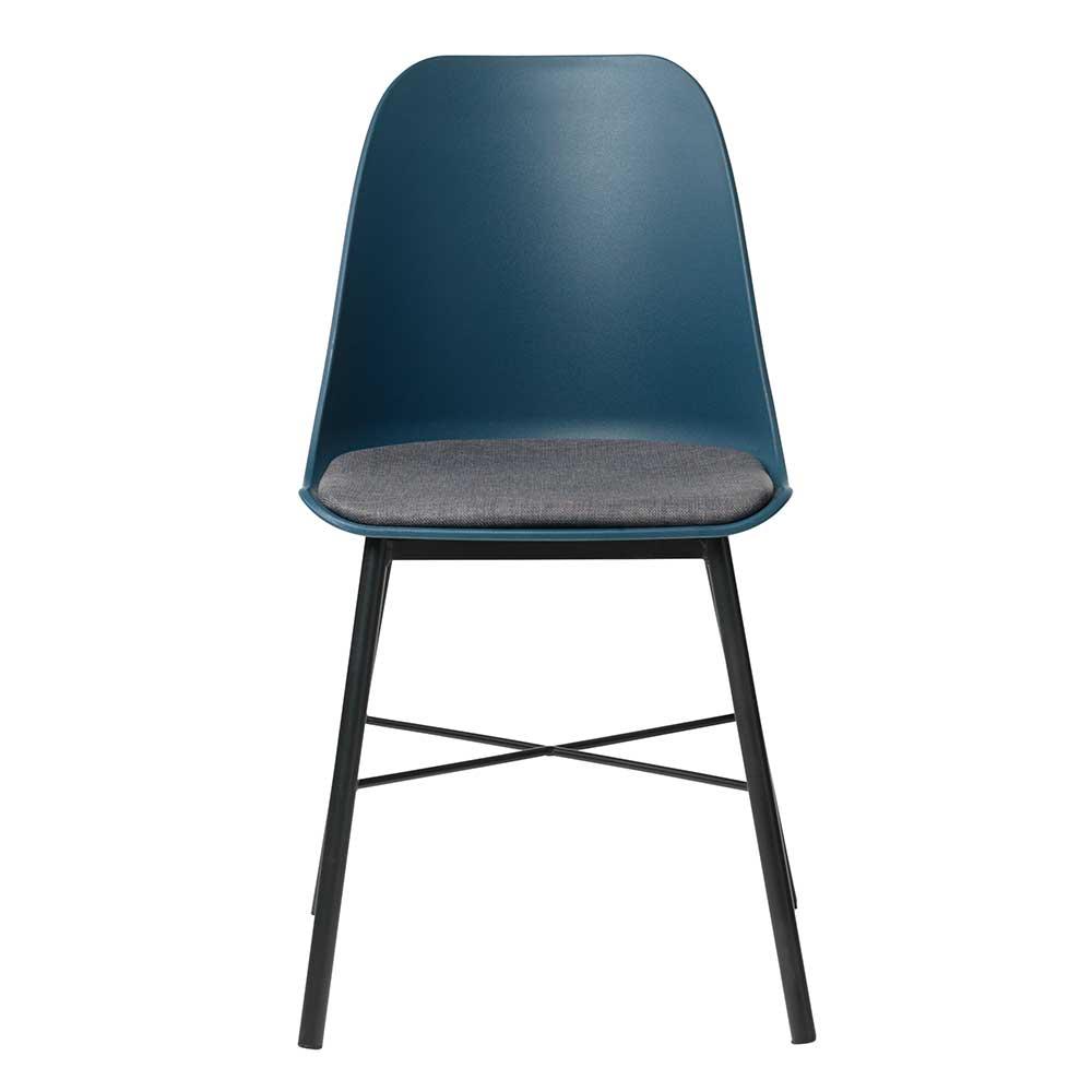 Esstisch Stühle in Blau und Schwarz Kunststoff und Metall (2er Set)