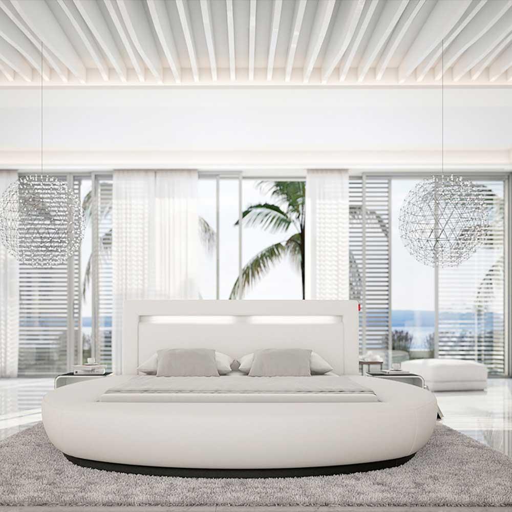 Rundes Polsterbett in Weiß Kunstleder LED Beleuchtung