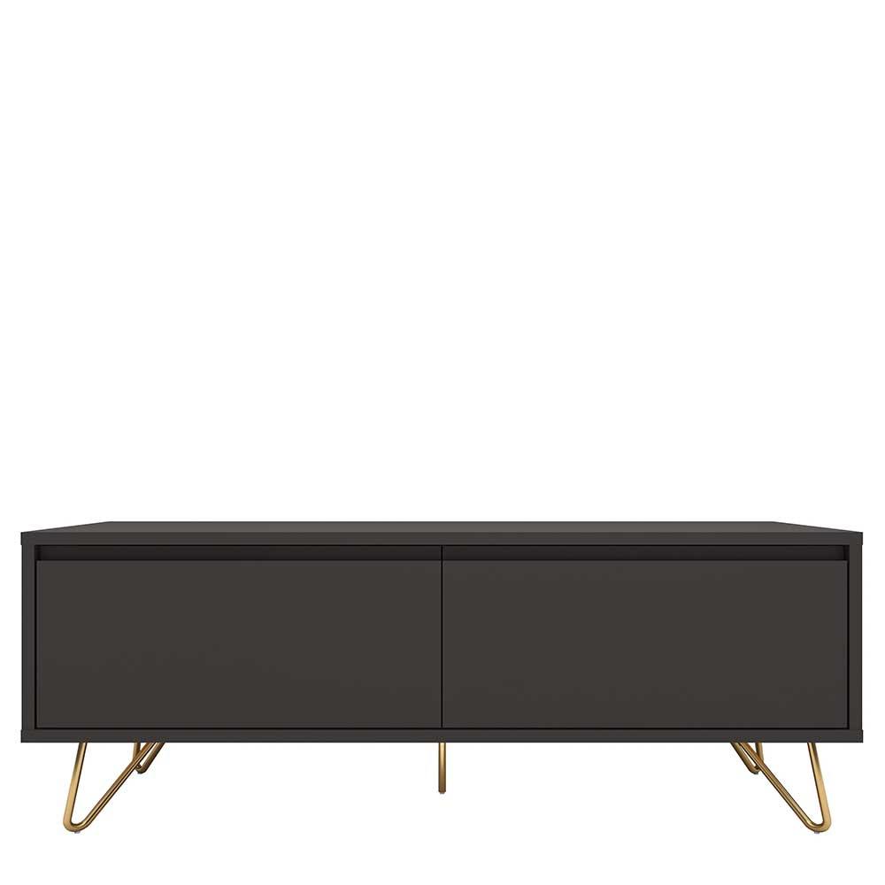 TV Lowboard in Anthrazit und Goldfarben 120 cm breit