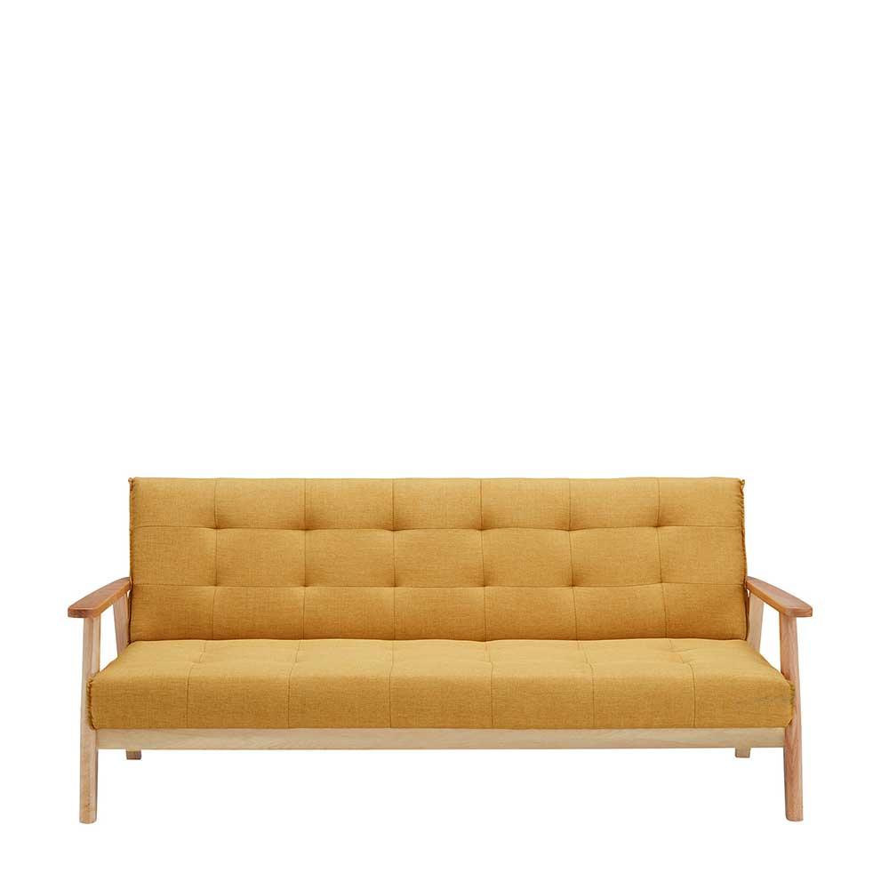 Funktionssofa in Gelb Webstoff 190 cm breit