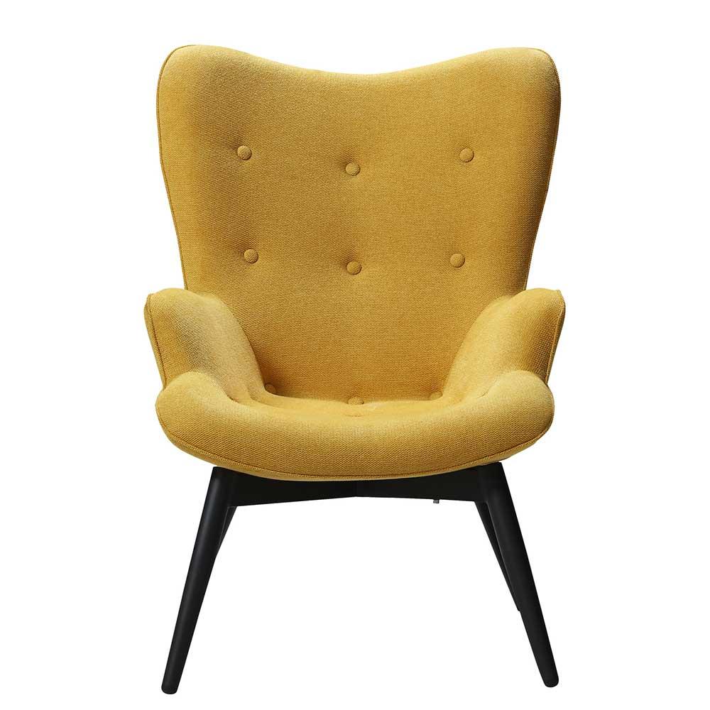 Polstersessel in Gelb Webstoff Skandi Design