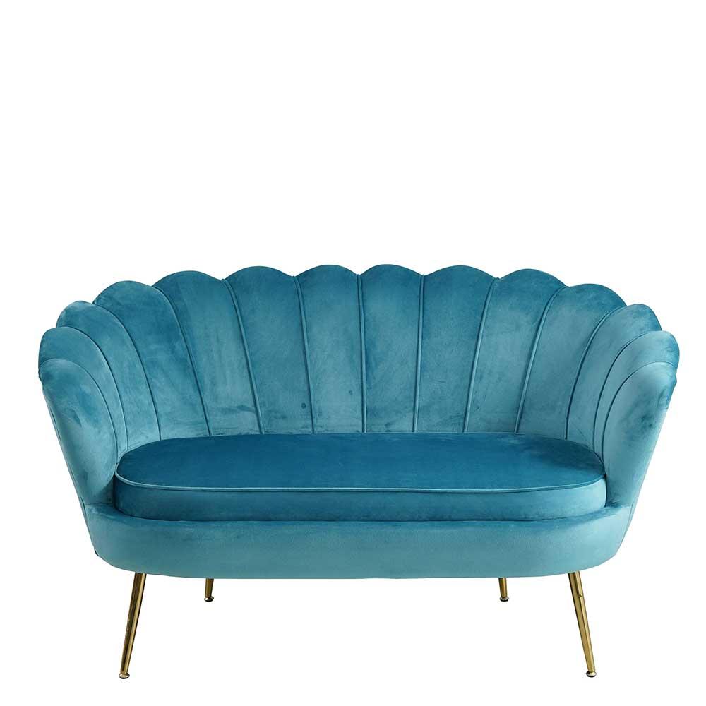 Zweisitzer Sofa in Blau Samt muschelförmig