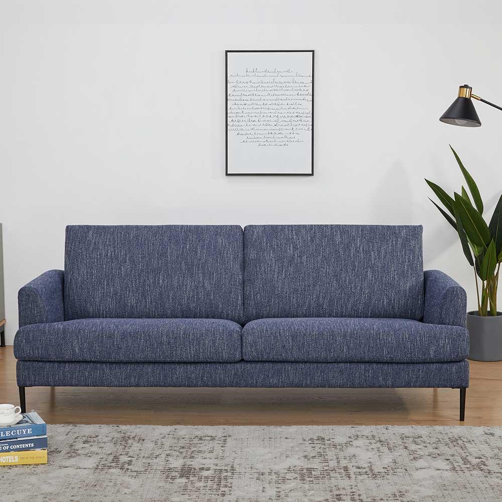 Zweisitzer Sofa in Blau Webstoff 40 cm Sitzhöhe