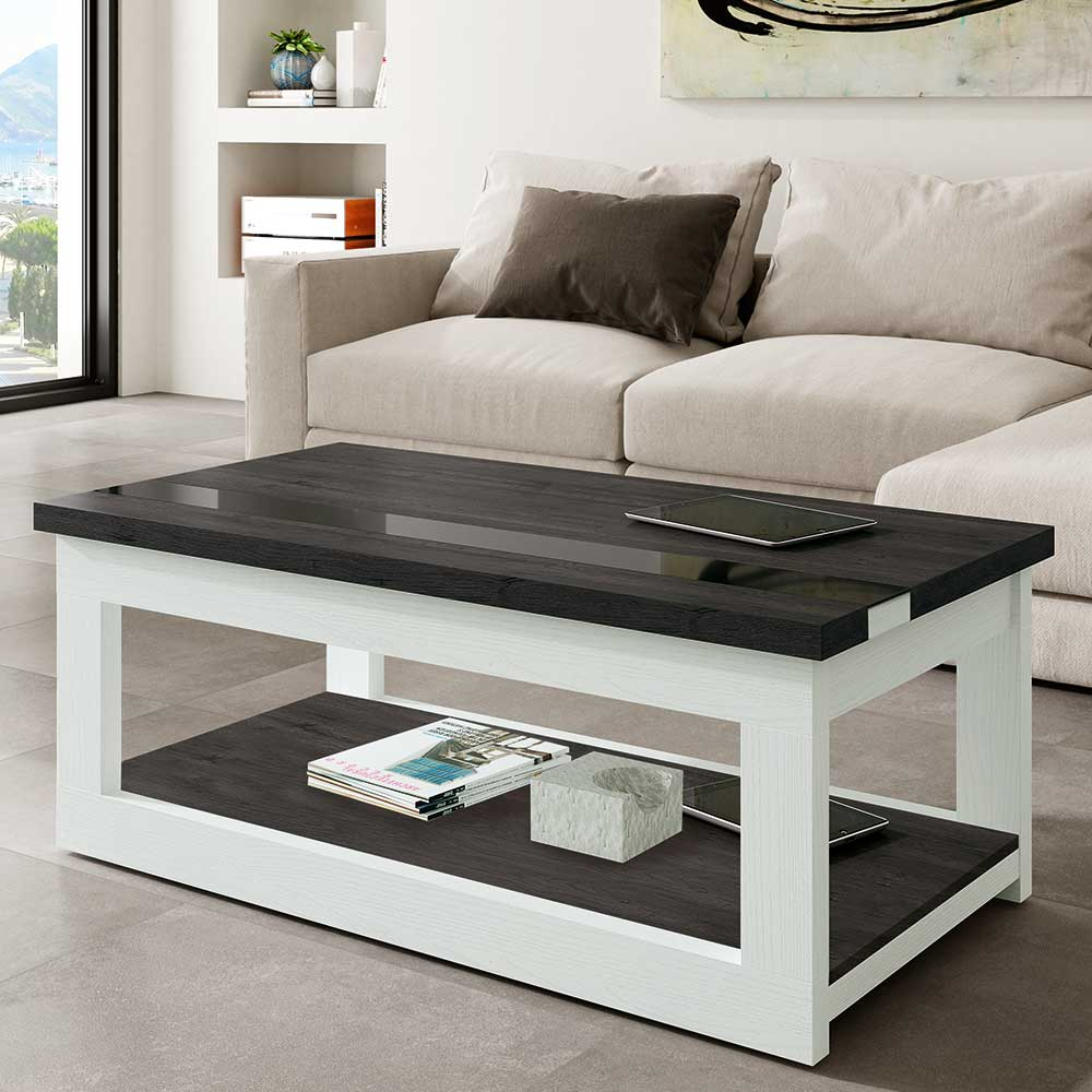 Couchtisch in Schwarzgrau und Weiß hochklappbarer Tischplatte
