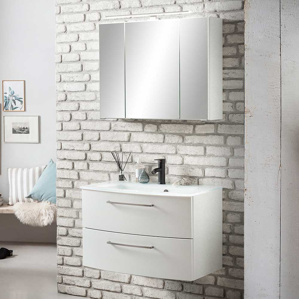 Badezimmerset in Weiß 80 cm breit (zweiteilig)