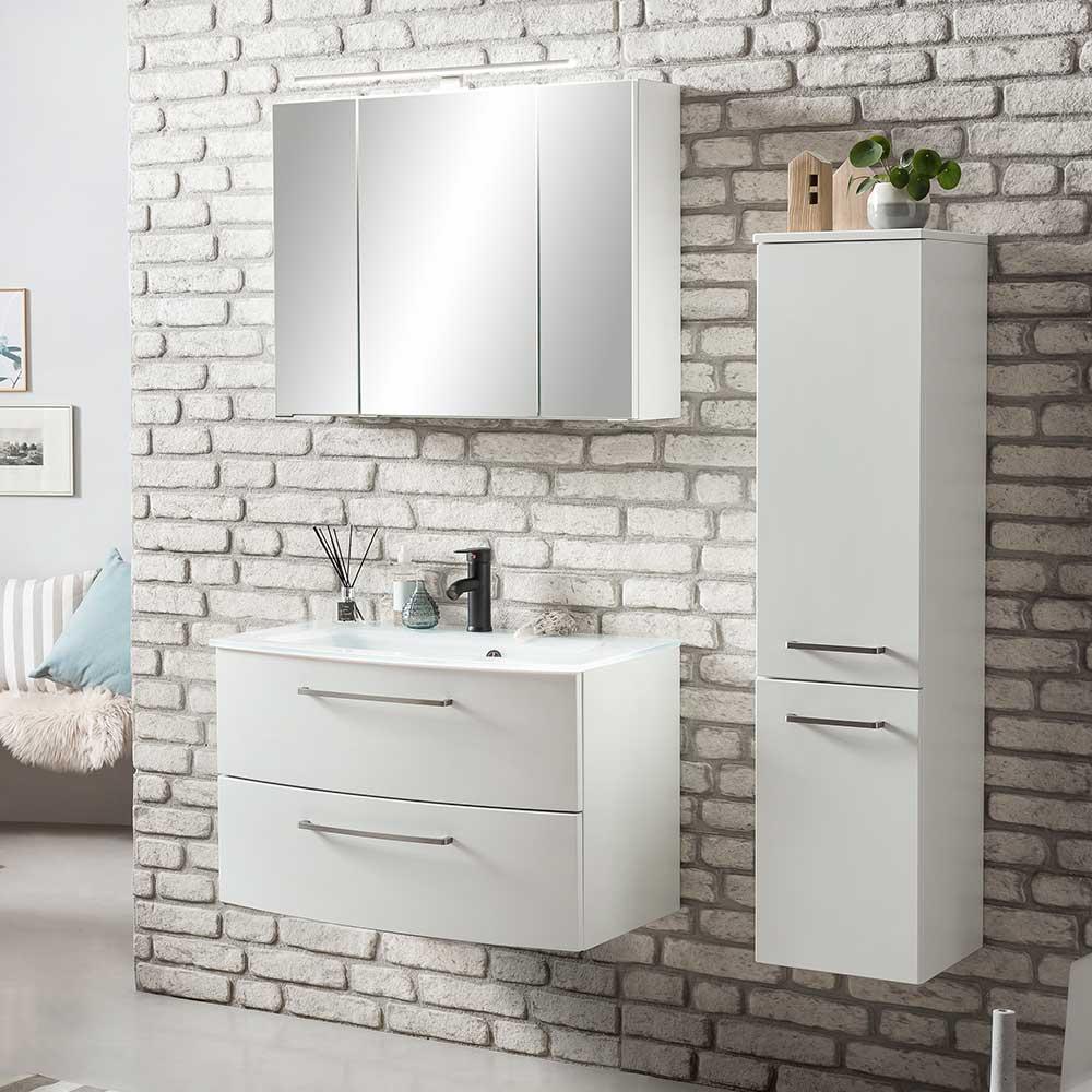 Badezimmerset in Weiß 110 cm breit (dreiteilig)