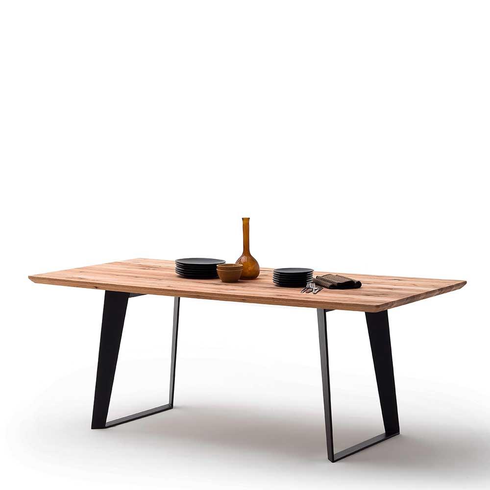 Esstisch aus Zerreiche Massivholz und Stahl modern