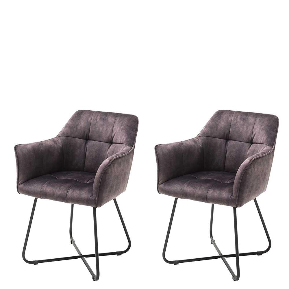 Esstisch Stühle in Anthrazit Velours Armlehnen (2er Set)