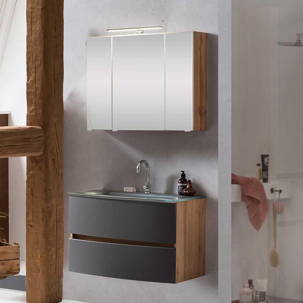 Badezimmerset in Wildeichefarben und Grau LED Beleuchtung (zweiteilig)