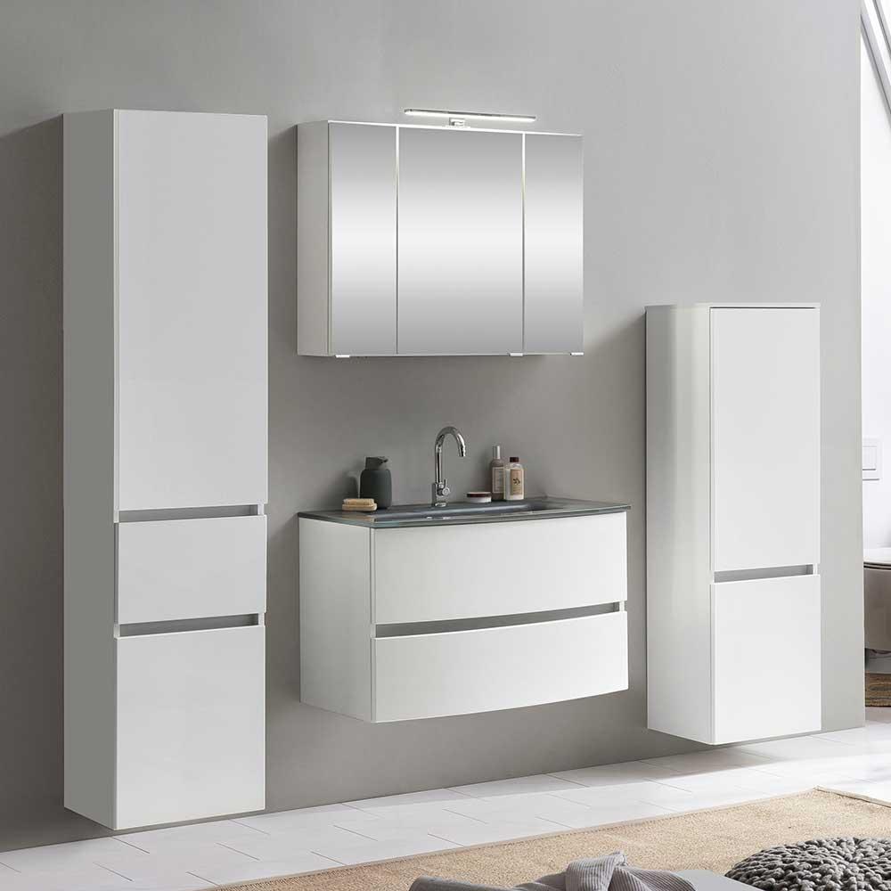 Weiße Badmöbel 160 cm breit LED Beleuchtung (vierteilig)