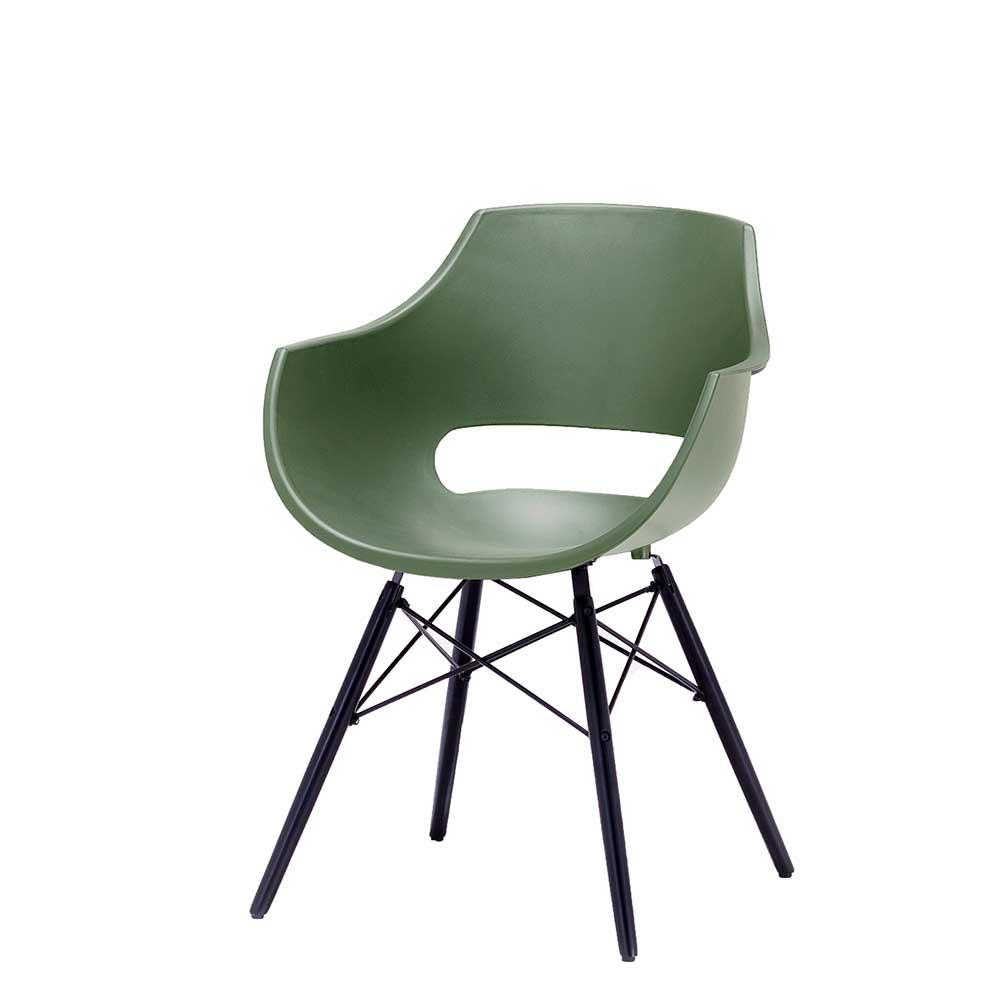 Esstisch Stühle in Grün und Schwarz Kunststoff und Buche Massivholz (4er Set)