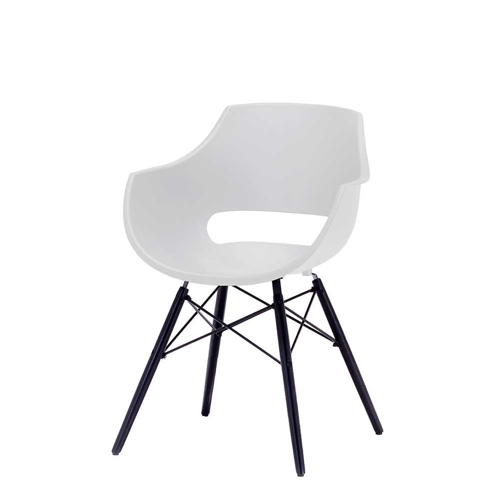 Esstisch Stühle in Schwarz und Weiß Armlehnen (4er Set)