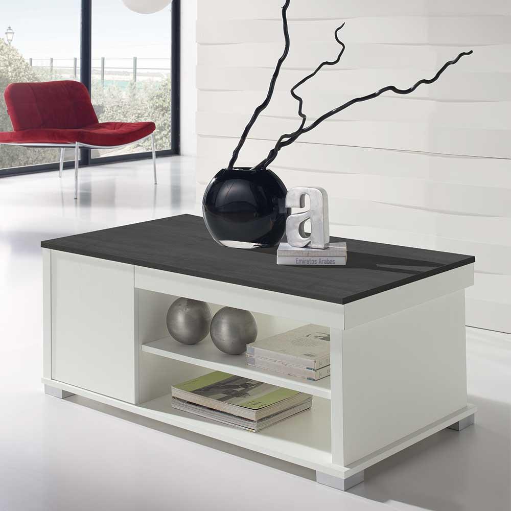 Design Couchtisch in Schwarzgrau und Weiß hochklappbarer Tischplatte