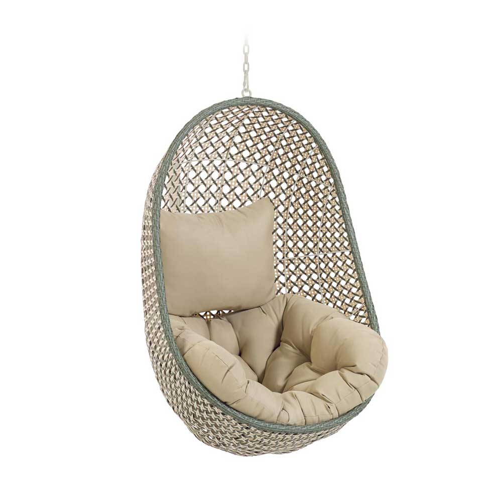 Schwebender Sessel in Beige und Grau Kunstrattan