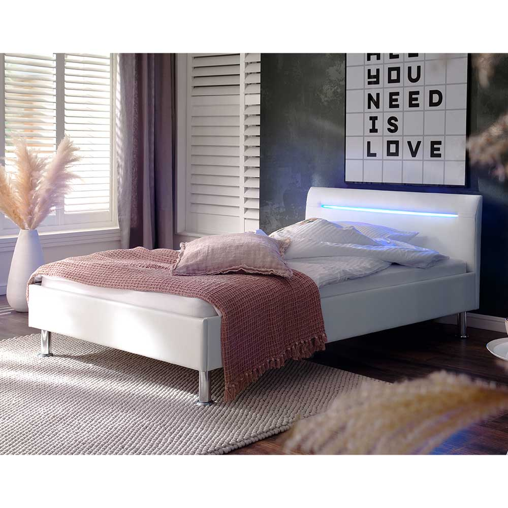Einzelbett in Weiß Kunstleder LED Beleuchtung