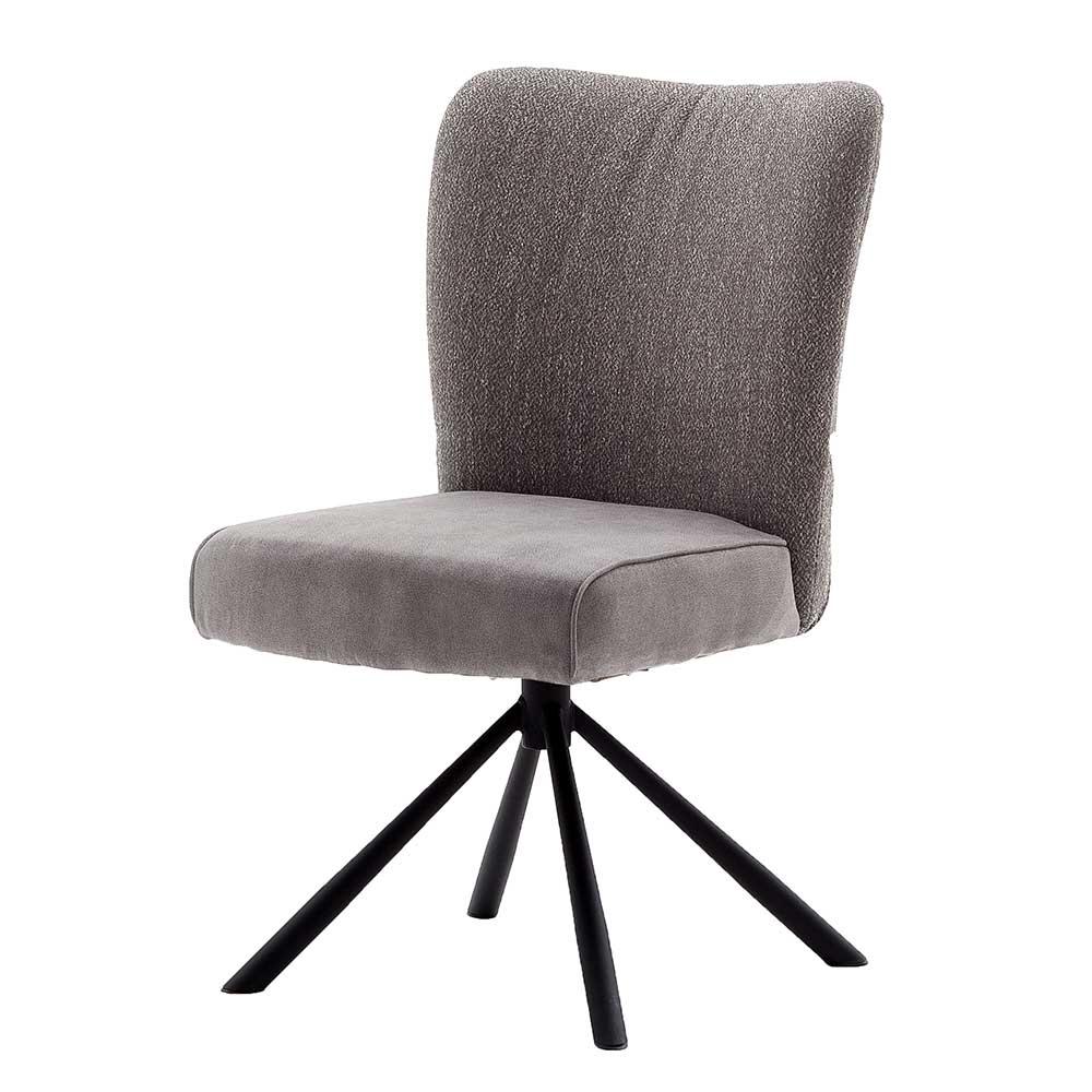 Esstisch Stühle in Grau Stoff hoher Lehne (2er Set)