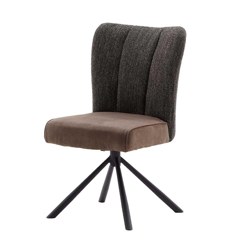 Esstisch Stühle in Grau und Braun drehbar (2er Set)