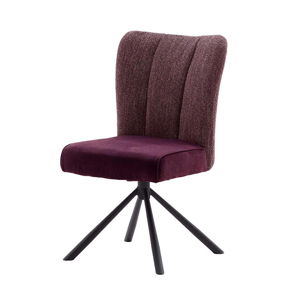 Esstisch Stühle in Dunkelrot drehbar (2er Set)