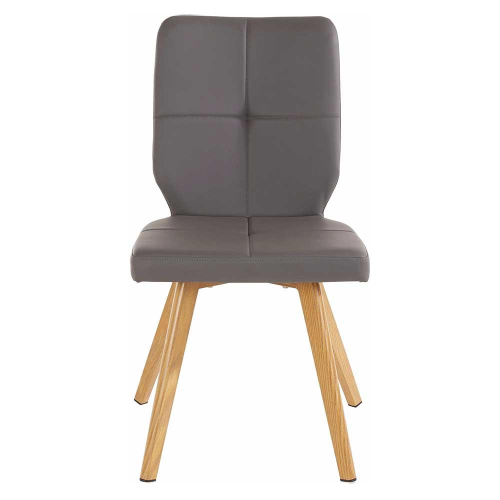Esstisch Stühle in Grau Kunstleder modern (2er Set)