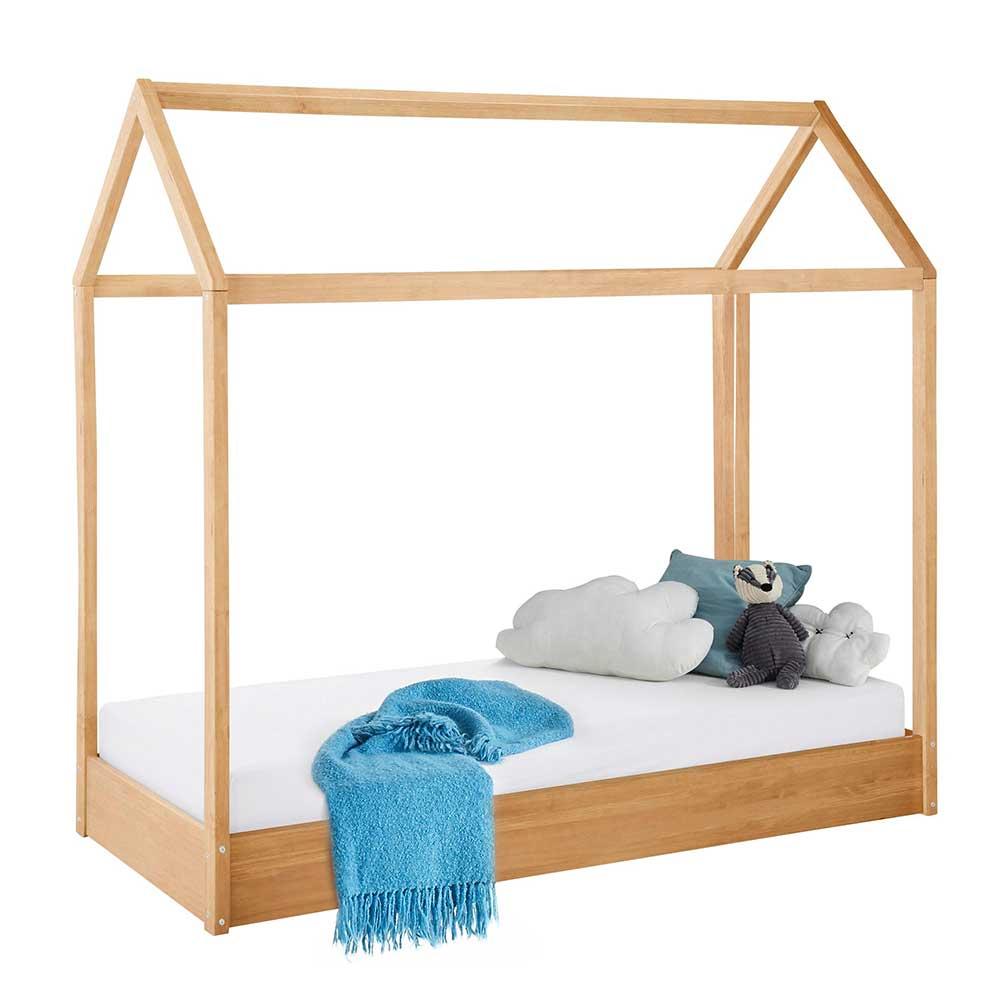 Kinder Einzelbett aus Kiefer Massivholz Haus Optik