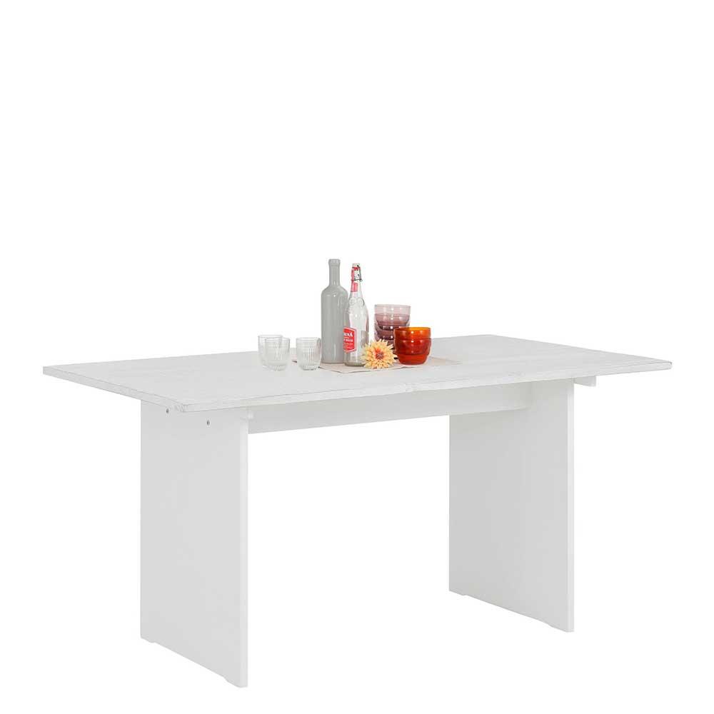 Wangen Esstisch in Weiß lasiert Kiefer teilmassiv