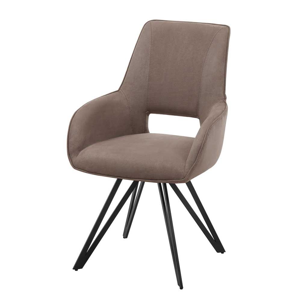 Esstisch Stühle aus Microfaser und Metall Taupe und Schwarz