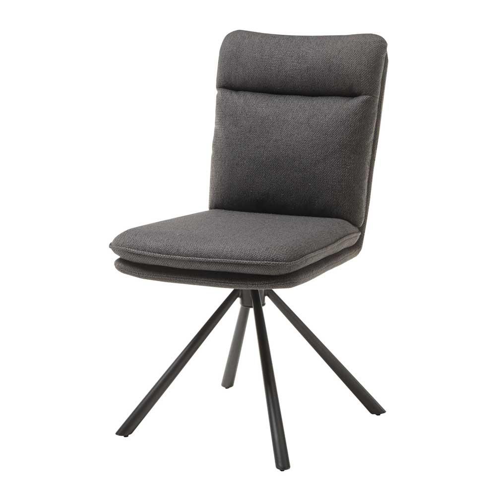 Esstisch Stühle in Grau Webstoff Gestell aus Metall (2er Set)