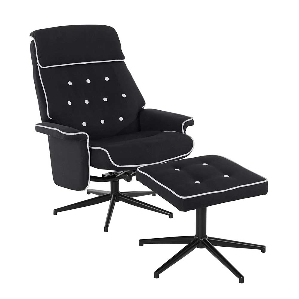 Wohnzimmer Sessel in Schwarz Webstoff drehbar (zweiteilig)