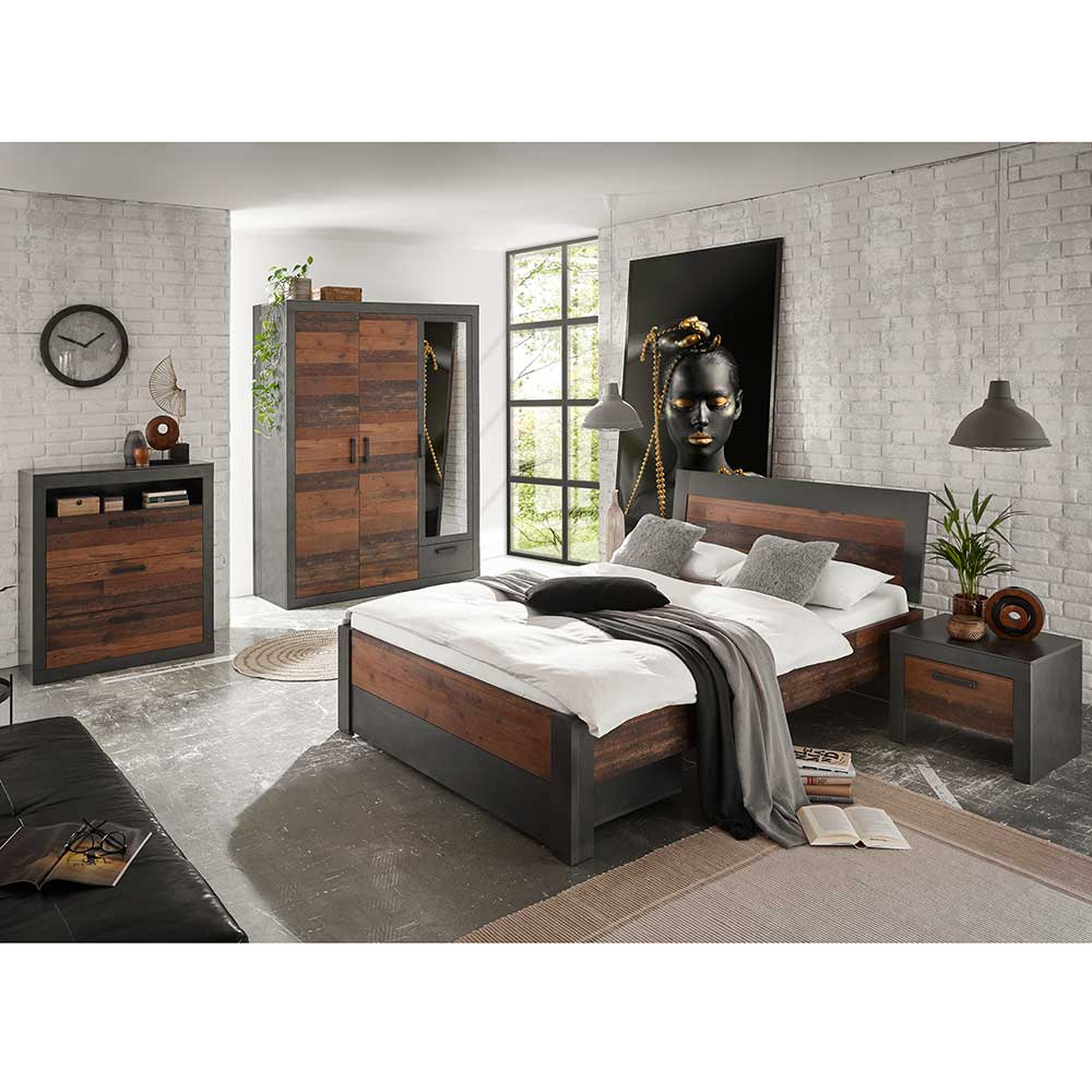 Komplettschlafzimmer in Dunkelgrau und Altholz Optik Loft Design (vierteilig)