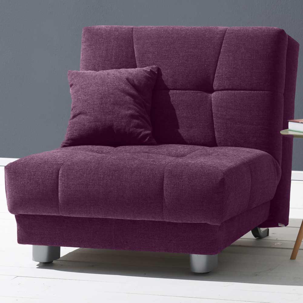Schlafsessel in Violett Velours 85 cm breit