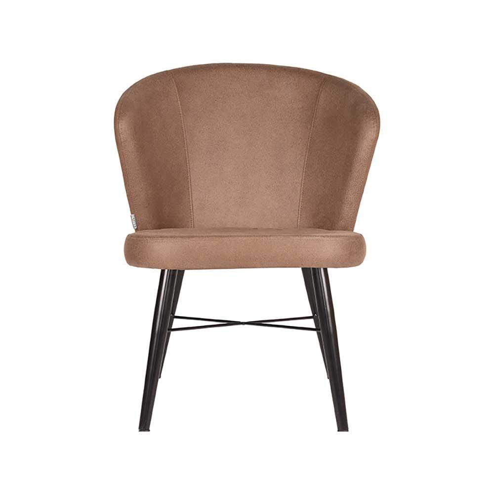Lounge Sessel in Hellbraun und Schwarz Vierfußgestell aus Metall
