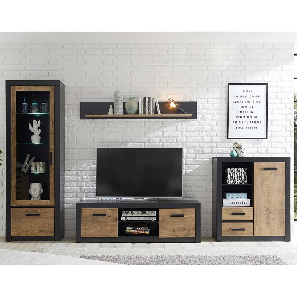 Design Wohnwand in Schwarz und Kastanien Holzoptik 310 cm breit (vierteilig)