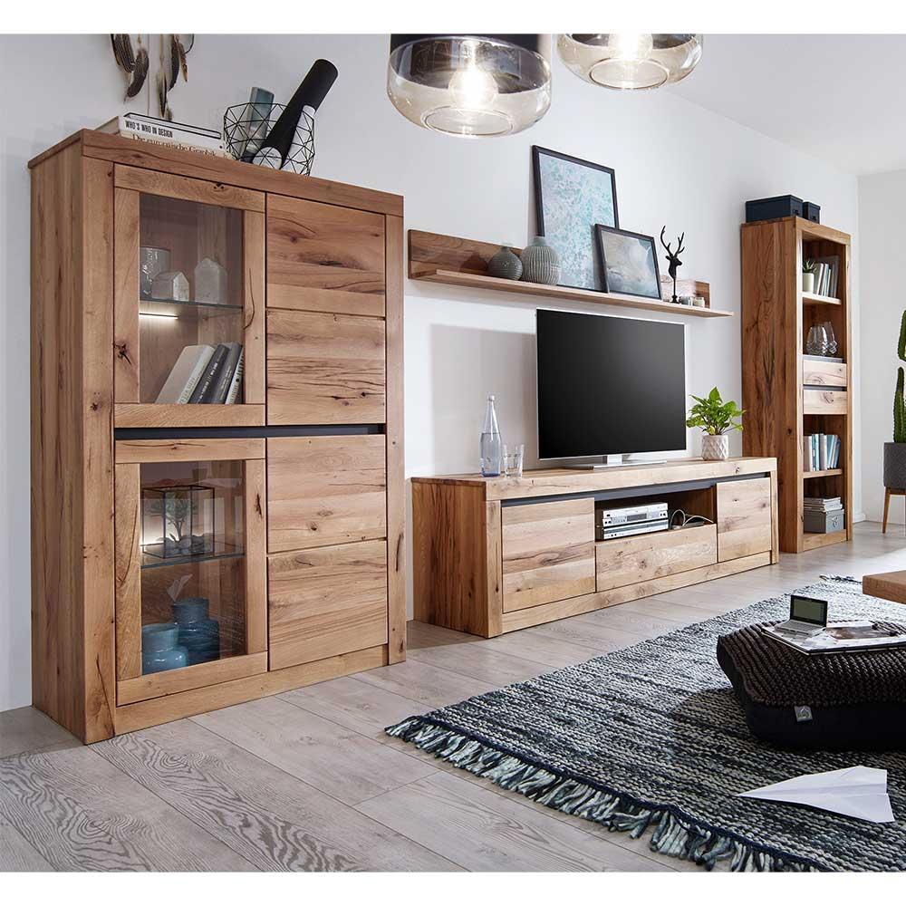 TV Wohnwand aus Wildeiche Massivholz Zerreiche Massivholz (vierteilig)