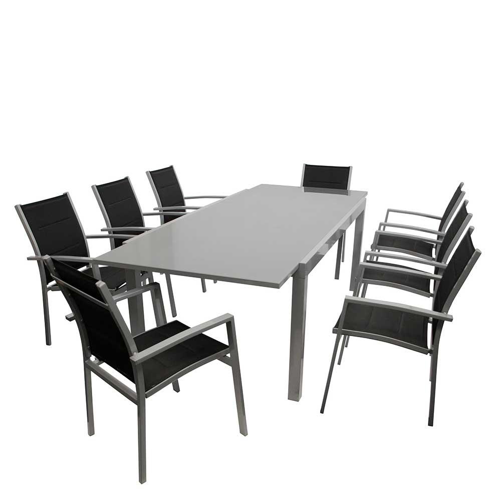 Gartenmöbel Set in Grau und Schwarz großem Glastisch (neunteilig)