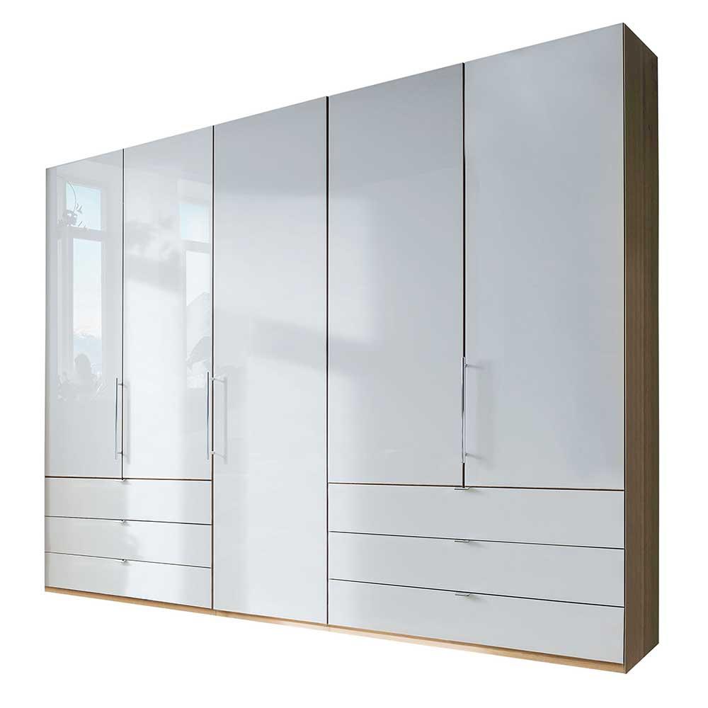 Großer Kleiderschrank in Weiß und Eiche Bianco 250 cm breit