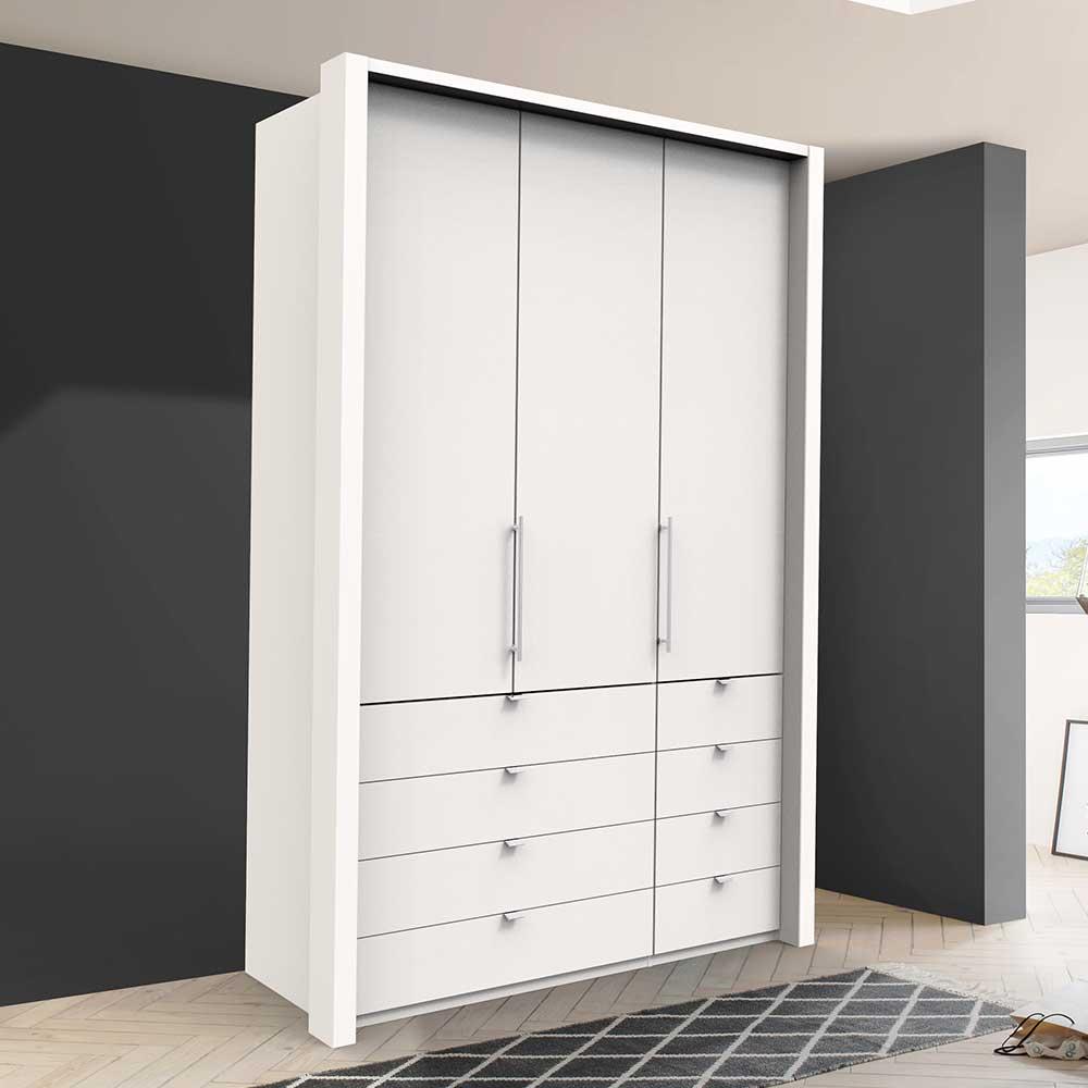 Weißer Kleiderschrank mit Falttüren acht Schubladen