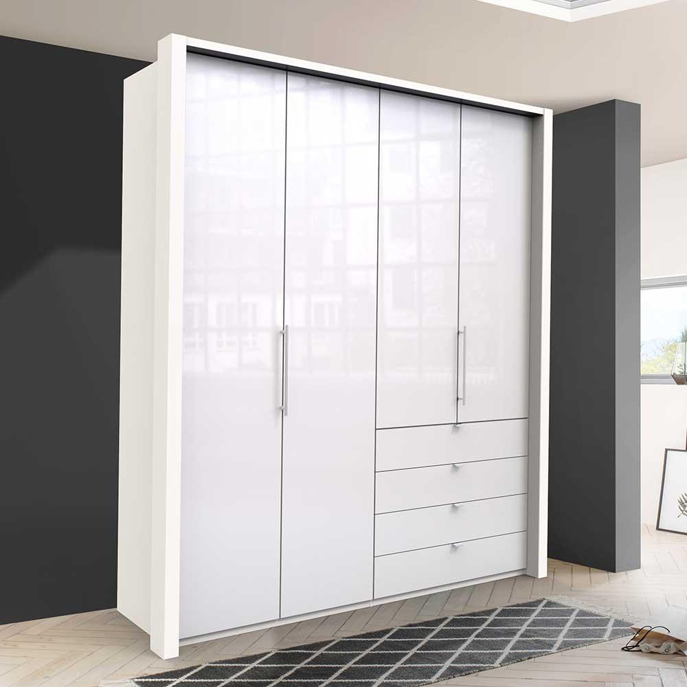 Jugend Kleiderschrank in Weiß Glas beschichtet Falttüren