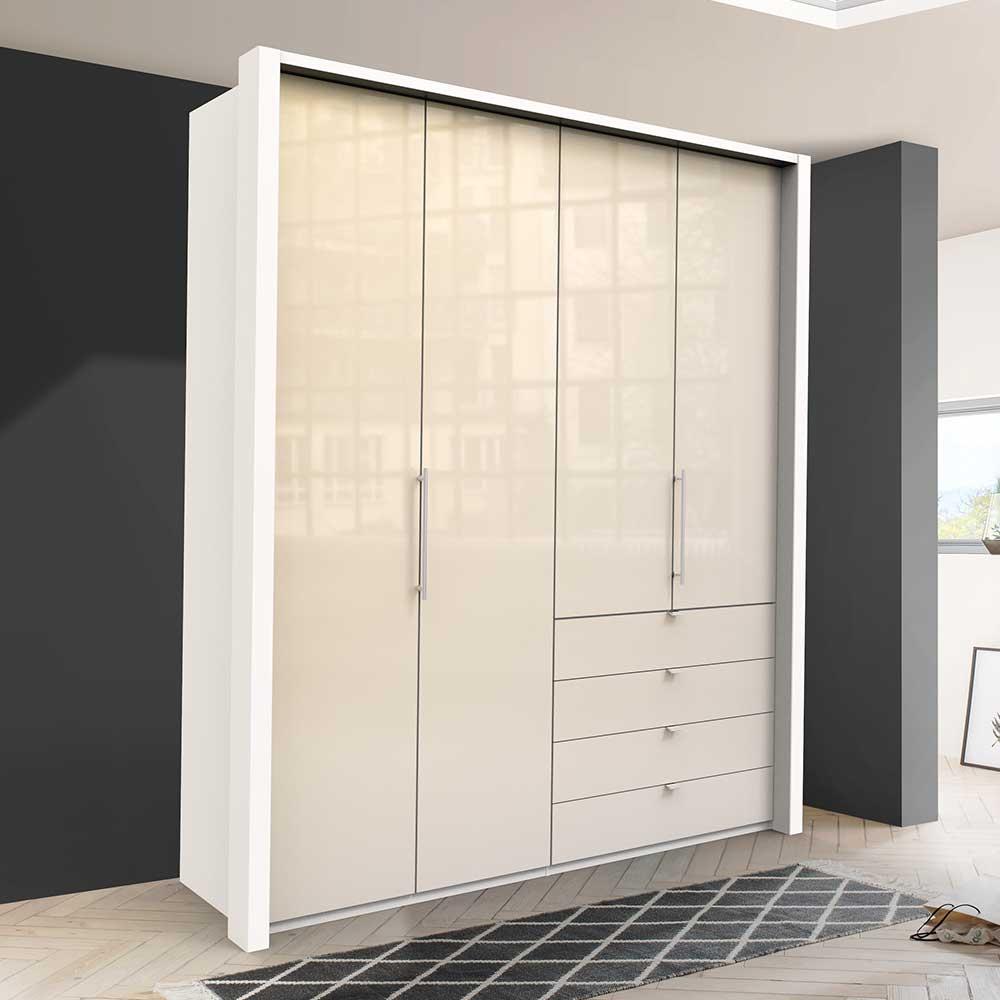 Jugendzimmer Kleiderschrank in Creme Weiß Glas beschichtet Falttüren
